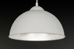 hanglamp 10975: modern, wit, mat, zilvergrijs