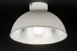 plafondlamp 10976: modern, wit, mat, zilvergrijs