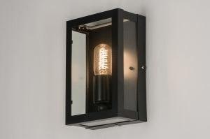 wandlamp 11057: klassiek, zwart, mat, glas