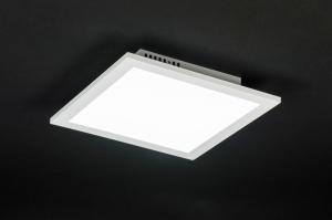 plafondlamp 11198: modern, wit, mat, aluminium
