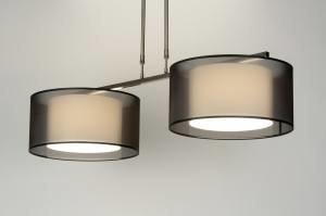 hanglamp 30126: modern, zwart, stof, langwerpig