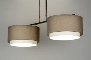 hanglamp 30127: modern, taupe, stof, langwerpig