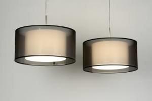 hanglamp 30131: modern, zwart, stof, rond