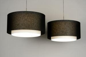 hanglamp 30145: modern, zwart, stof, rond