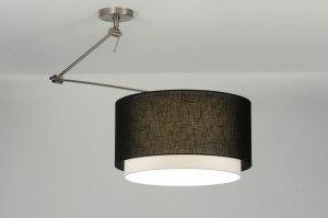 hanglamp 30148: modern, zwart, stof, rond