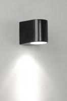 wandlamp 30190: modern, metaal, zwart, mat