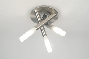 plafondlamp 30202: modern, glas, wit opaalglas, metaal