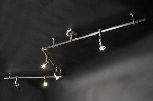 plafondlamp 30229: modern, staal rvs, langwerpig