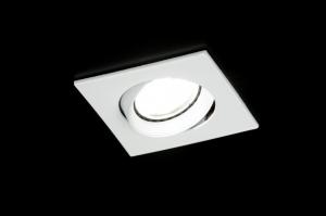 inbouwspot 30293: modern, wit, glans, vierkant
