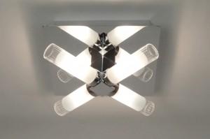 plafondlamp 30349: modern, glas, helder glas, mat glas