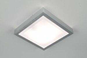 plafondlamp 30367: modern, aluminium, kunststof, vierkant