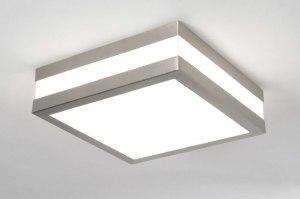 plafondlamp 30384: modern, kunststof, staal , rvs