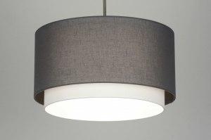 hanglamp 30400: modern, antraciet donkergrijs, stof, rond