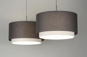 hanglamp 30415: modern, antraciet donkergrijs, stof, rond