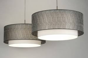 hanglamp 30422: modern, zilvergrijs, stof, rond