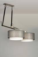 hanglamp 30505: modern, design, zilvergrijs, stof