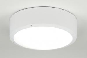 plafondlamp 30556: modern, wit, mat, kunststof