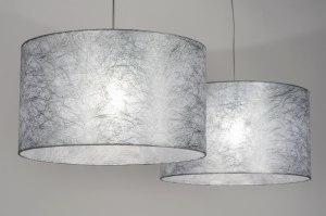 hanglamp 30624: modern, grijs, zilvergrijs, stof