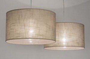 hanglamp 30625: modern, taupe, stof, rond