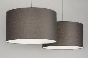 pendelleuchte 30628 modern grau stoff rund. Black Bedroom Furniture Sets. Home Design Ideas