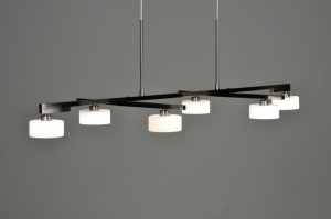 hanglamp 62815: modern, design, staalgrijs, glas