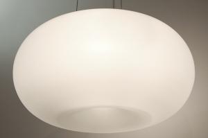 hanglamp 64737: modern, glas, wit opaalglas, wit