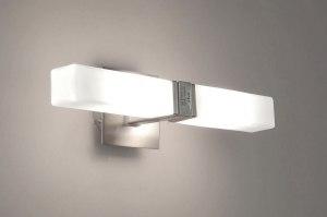 badkamerlamp 65411: modern, glas, wit opaalglas, metaal