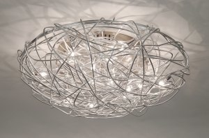 plafondlamp 65901: modern, staal , rvs, rond