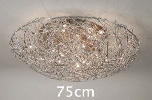 plafondlamp 65902: modern, staal , rvs, rond