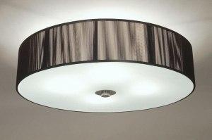 plafondlamp 66974: glas, wit opaalglas, metaal, stof