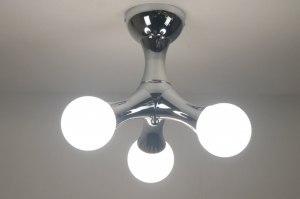 plafondlamp 67068: modern, glas, wit opaalglas, metaal