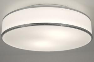 plafondlamp 67245: modern, glas, wit opaalglas, metaal