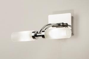 wandlamp 68732: modern, glas, wit opaalglas, metaal
