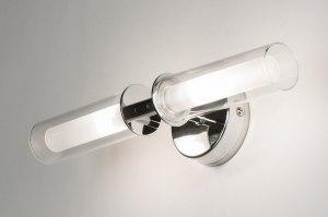 wandlamp 70122: modern, glas, helder glas, mat glas