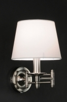wandlamp 70156: klassiek, staal , rvs, stof