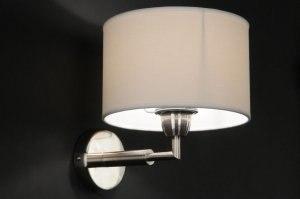 wandlamp 70157: klassiek, staal , rvs, stof