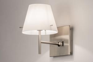 wandlamp 70460: modern, glas, wit opaalglas, staal