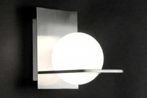 wandlamp 70468: modern, glas, wit opaalglas, staal