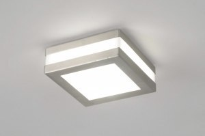 plafondlamp 70512: modern, kunststof, staal rvs, vierkant
