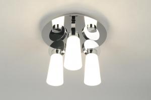 plafondlamp 70633: modern, design, glas, wit opaalglas