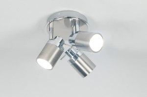 plafondlamp 70677: modern, staalgrijs, metaal, rond
