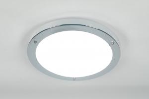 plafondlamp 70679: modern, glas, wit opaalglas, metaal
