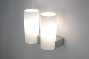 wandlamp 70705: modern, glas, wit opaalglas, metaal