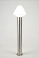 buitenlamp 70916: modern, glas, wit opaalglas, staal