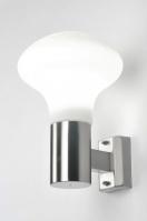 buitenlamp 70918: modern, glas, wit opaalglas, staal