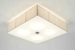 plafondlamp 70959: modern, glas, wit opaalglas, kunststof