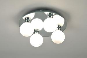 plafondlamp 71100: modern, glas, wit opaalglas, rond