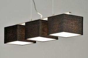 hanglamp 71214: modern, zwart, stof, rechthoekig