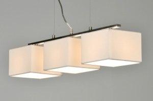 hanglamp 71215: modern, wit, stof, rechthoekig
