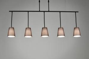 hanglamp 71324: modern, metaal, stof, bruin